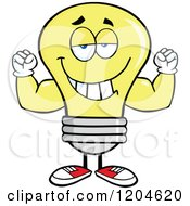 Cartoon Of A Happy Yellow Light Bulb Mascot Flexing Royalty Free Vector Clipart by Hit Toon