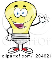 Cartoon Of A Happy Waving Yellow Light Bulb Mascot Royalty Free Vector Clipart