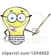Cartoon Of A Happy Yellow Light Bulb Mascot Teacher Using A Pointer Stick 2 Royalty Free Vector Clipart by Hit Toon