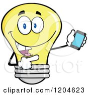 Cartoon Of A Happy Yellow Light Bulb Mascot Pointing To A Tablet Computer 2 Royalty Free Vector Clipart