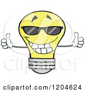Cartoon Of A Happy Yellow Light Bulb Mascot Holding Two Thumbs Up And Wearing Shades Royalty Free Vector Clipart by Hit Toon