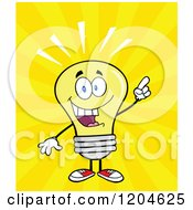 Cartoon Of A Smart Yellow Light Bulb Mascot With An Idea Over Rays Royalty Free Vector Clipart by Hit Toon