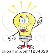 Cartoon Of A Smart Yellow Light Bulb Mascot With An Idea Royalty Free Vector Clipart by Hit Toon