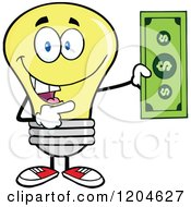 Cartoon Of A Happy Yellow Light Bulb Mascot Holding A Dollar Bill Royalty Free Vector Clipart by Hit Toon
