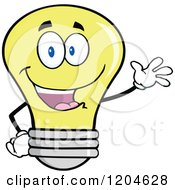 Cartoon Of A Happy Yellow Light Bulb Mascot Waving Royalty Free Vector Clipart by Hit Toon