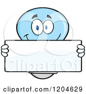 Cartoon Of A Happy Blue Light Bulb Mascot Holding A Sign 3 Royalty Free Vector Clipart