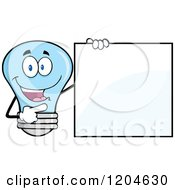 Cartoon Of A Happy Blue Light Bulb Mascot Pointing To A Sign 2 Royalty Free Vector Clipart