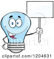 Cartoon Of A Happy Blue Light Bulb Mascot Holding A Sign 4 Royalty Free Vector Clipart