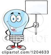 Cartoon Of A Happy Blue Light Bulb Mascot Holding A Sign 2 Royalty Free Vector Clipart