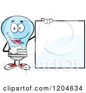 Cartoon Of A Happy Blue Light Bulb Mascot Pointing To A Sign Royalty Free Vector Clipart
