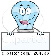 Cartoon Of A Happy Blue Light Bulb Mascot Over A Sign Royalty Free Vector Clipart