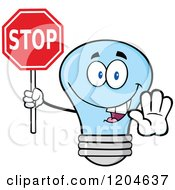 Cartoon Of A Happy Blue Light Bulb Mascot Holding A Stop Sign 2 Royalty Free Vector Clipart