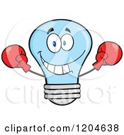Cartoon Of A Happy Blue Light Bulb Mascot Fighter Wearing Boxing Gloves Royalty Free Vector Clipart
