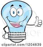 Cartoon Of A Happy Blue Light Bulb Mascot Holding A Thumb Up Royalty Free Vector Clipart