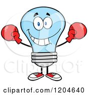 Cartoon Of A Blue Light Bulb Mascot Wearing Boxing Gloves Royalty Free Vector Clipart
