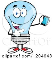 Cartoon Of A Happy Blue Light Bulb Mascot Pointing To A Tablet Computer Royalty Free Vector Clipart