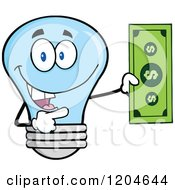 Cartoon Of A Happy Blue Light Bulb Mascot Holding A Dollar Bill Royalty Free Vector Clipart