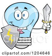 Cartoon Of A Happy Blue Light Bulb Mascot Guard With A Shield And Sword Royalty Free Vector Clipart by Hit Toon