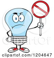 Cartoon Of A Mad Blue Light Bulb Mascot Holding A Forbidden Sign Royalty Free Vector Clipart by Hit Toon