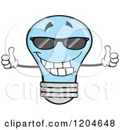 Cartoon Of A Happy Blue Light Bulb Mascot Holding Two Thumbs Up And Wearing Shades Royalty Free Vector Clipart