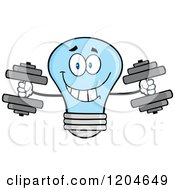 Cartoon Of A Happy Blue Light Bulb Mascot Weightlifting Dumbbells Royalty Free Vector Clipart