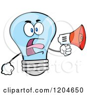 Cartoon Of A Blue Light Bulb Mascot Announcing With A Megaphone 2 Royalty Free Vector Clipart
