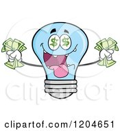 Cartoon Of A Rich Blue Light Bulb Mascot Holding Cash 2 Royalty Free Vector Clipart