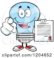 Cartoon Of A Happy Blue Light Bulb Mascot Pointing And Holding A Contract Royalty Free Vector Clipart
