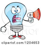 Cartoon Of A Blue Light Bulb Mascot Announcing With A Megaphone Royalty Free Vector Clipart
