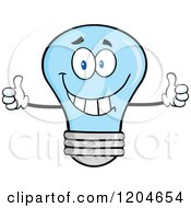 Cartoon Of A Happy Blue Light Bulb Mascot Holding Two Thumbs Up Royalty Free Vector Clipart