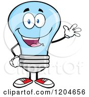 Cartoon Of A Happy Waving Blue Light Bulb Mascot Royalty Free Vector Clipart by Hit Toon