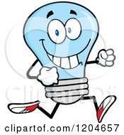 Cartoon Of A Happy Blue Light Bulb Mascot Running Royalty Free Vector Clipart