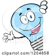 Cartoon Of A Happy Blue Light Bulb Mascot Waving Around A Sign Royalty Free Vector Clipart