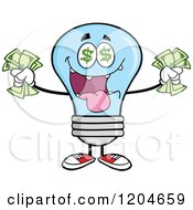 Cartoon Of A Rich Blue Light Bulb Mascot Holding Cash Royalty Free Vector Clipart