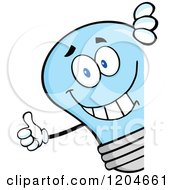 Cartoon Of A Happy Blue Light Bulb Mascot Holding A Thumb Up Around A Sign Royalty Free Vector Clipart