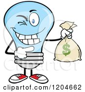 Cartoon Of A Winking Blue Light Bulb Mascot Holding A Money Savings Bag Royalty Free Vector Clipart by Hit Toon