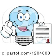 Cartoon Of A Happy Blue Light Bulb Mascot Pointing And Holding A Contract 2 Royalty Free Vector Clipart