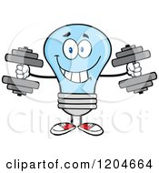 Cartoon Of A Happy Blue Light Bulb Mascot Lifting Dumbbell Weights Royalty Free Vector Clipart