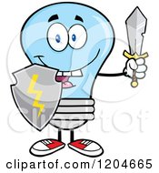 Cartoon Of A Happy Blue Light Bulb Mascot With A Sword And Shield Royalty Free Vector Clipart