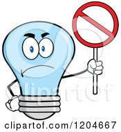 Cartoon Of A Happy Blue Light Bulb Mascot Holding A Prohibited Sign Royalty Free Vector Clipart by Hit Toon