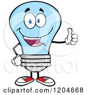 Cartoon Of A Happy Blue Light Bulb Mascot Holding A Thumb Up Royalty Free Vector Clipart by Hit Toon
