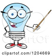 Cartoon Of A Happy Blue Light Bulb Mascot Teacher Using A Pointer Stick 2 Royalty Free Vector Clipart
