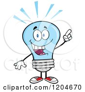 Cartoon Of A Smart Blue Light Bulb Mascot With An Idea Royalty Free Vector Clipart by Hit Toon