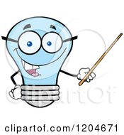 Cartoon Of A Happy Blue Light Bulb Mascot Teacher Using A Pointer Stick Royalty Free Vector Clipart