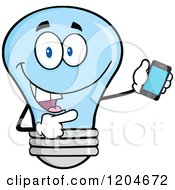Cartoon Of A Happy Blue Light Bulb Mascot Pointing To A Tablet Computer 2 Royalty Free Vector Clipart