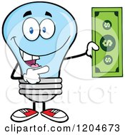 Cartoon Of A Happy Blue Light Bulb Mascot Holding A Dollar Bill 2 Royalty Free Vector Clipart