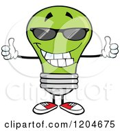 Cartoon Of A Happy Green Light Bulb Mascot Wearing Sunglasses And Holding Two Thumbs Up Royalty Free Vector Clipart