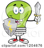 Cartoon Of A Happy Green Light Bulb Mascot With A Sword And Shield Royalty Free Vector Clipart