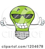 Cartoon Of A Happy Green Light Bulb Mascot Holding Two Thumbs Up And Wearing Shades Royalty Free Vector Clipart