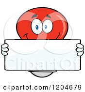 Cartoon Of A Happy Red Light Bulb Mascot Holding A Sign 2 Royalty Free Vector Clipart